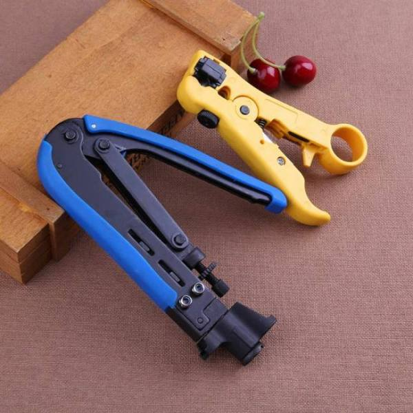 Set of coaxial cable stripper and compression crimping tool for rg6 rg59 rg11