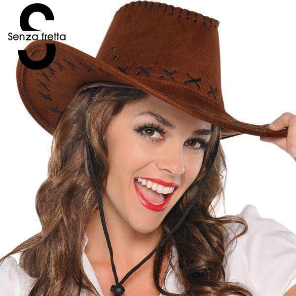 Fancy cowboy hats men women vintage wide brim headwear western style d02696