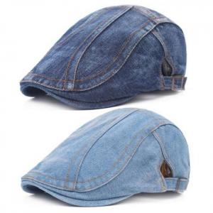 Men blue denim peaked ivy cap golf driving flat cabbie newsboy beret hat hatcs0223