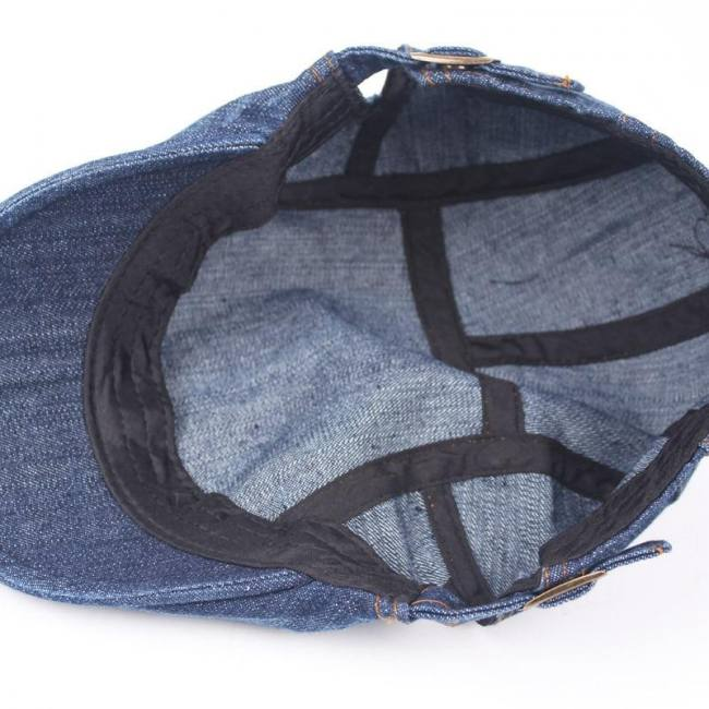 Men blue denim peaked ivy cap golf driving flat cabbie newsboy beret hat hatcs0223
