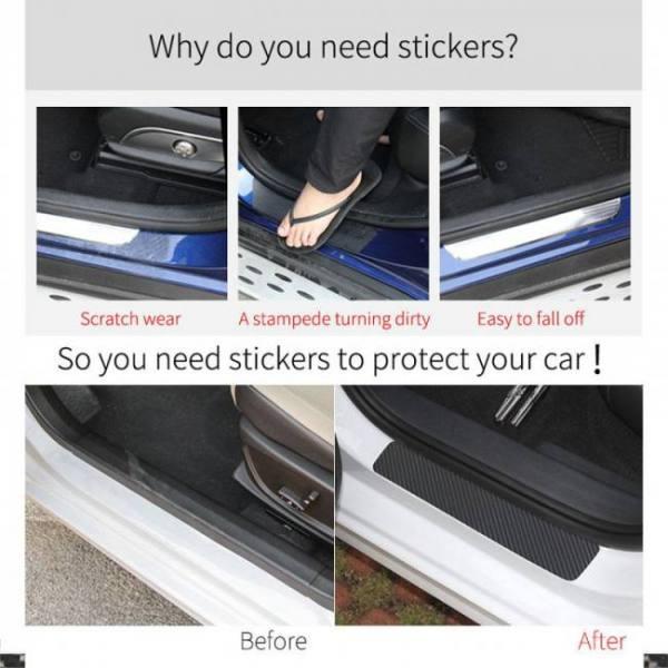 Car door sill protector carbon fiber styling sticker