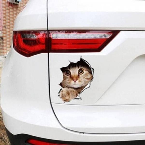 Fashion car accessories 3d anime funny creative personality kitten simulation sticker