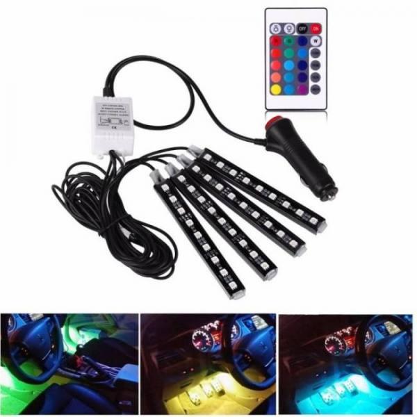 4pcs 12v car rgb led drl strip light