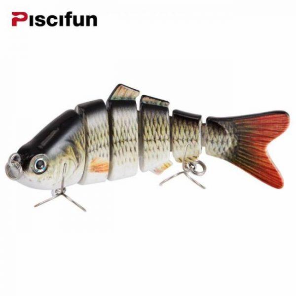Piscifun fishing lure 10cm 20g 3d eyes 6-segment lifelike fishing hard lure crankbait with 2 hook fishing baits pesca cebo