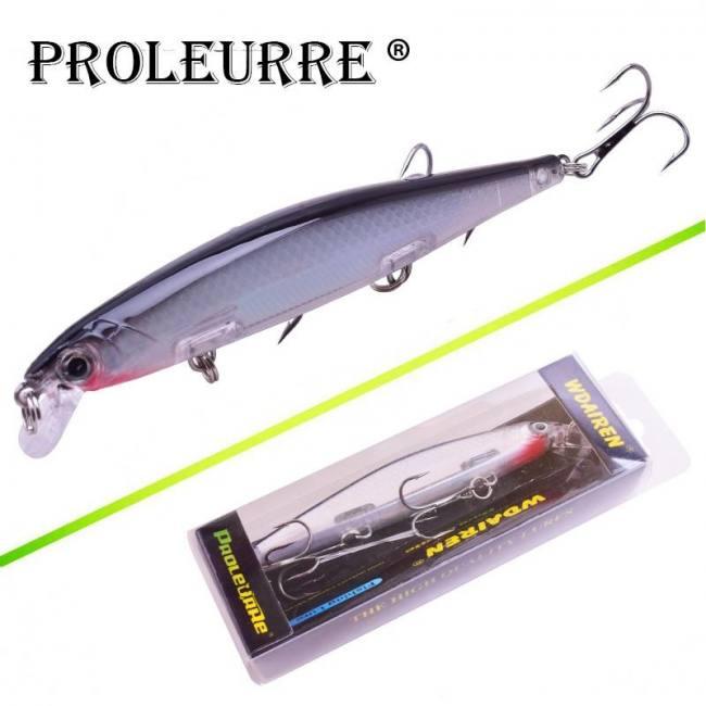 Proleurre 1PCS Minnow Fishing Lure Laser Hard Artificial Bait 3D Eyes 11cm  14g Fishing Wobblers diving 0 2m-1m Crankbait Minnows - Sadoun Sales