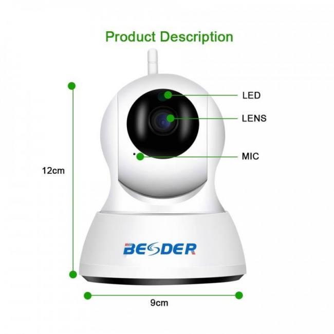 BESDER HD 720P Home Security IP Camera Two Way Audio Wireless Mini Camera  1MP Night Vision CCTV WiFi Camera Baby Monitor iCsee - Sadoun Sales