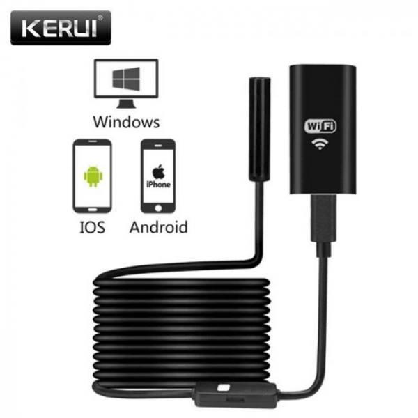 Cameras KERUI WIFI Endoscope Camera Mini Waterproof Soft Cable Inspection Camera 8mm 1M USB Endoscope Borescope IOS Endoscope For Iphone free