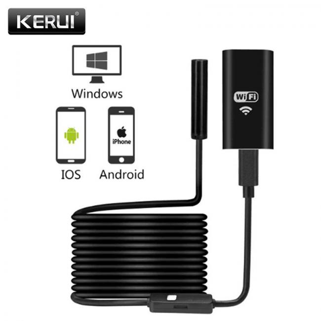 Surveillance Cameras 1m 2m 5m Wireless Wifi Endoscope Mini Waterproof Soft Cable Hd 1200p Inspection Camera 8mm Lens 8 Led Borescope For Android Ios Video Surveillance