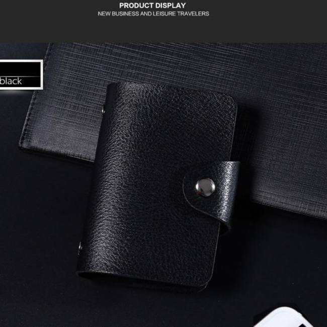 Lady PU Leather Pocket Business ID Credit Card Holder Case Wallet for 24 Bits