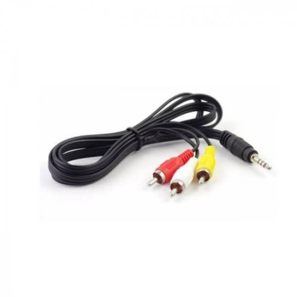 1m 3.5mm jack to 3 port rca male plug adapter audio converter video av cable for freesat v7 hd freesat v7 max satellite receiver