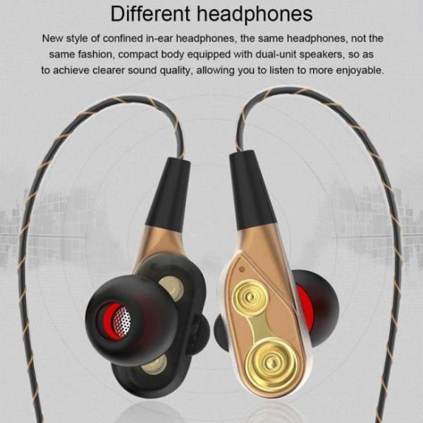 Earphones TEBAURRY Double Unit Drive In Ear Earphone Bass Subwoofer Earphone for phone DJ mp3 Sport Earphones Headset Earbud auriculares Free shipping