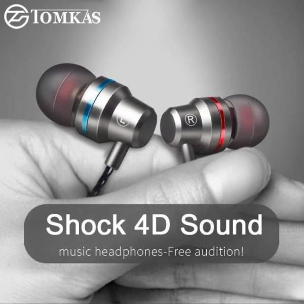 Tomkas in-ear earphone for mobile phone earphones 5 colors 3.5mm in ear sport micro earphone for iphone xiaomi with mic