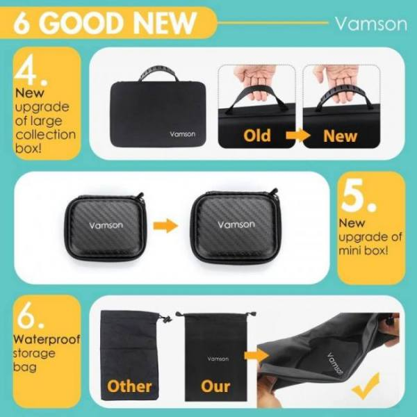 Vamson accessories set for for gopro hero 7 6 5 4 3 kit 3 way selfie stick for eken h8r / for xiaomi for yi eva case vs77