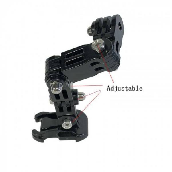 Adjustable helmet curved adhesive side mount for action cameras