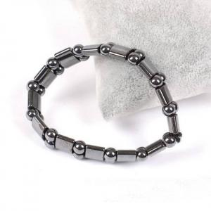 Nab031 1pc high quality men women black natural magnetic hematite therapy arthritis beads bracelet 18cm
