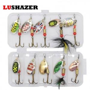 Fishing 10pcs/lot LUSHAZER fishing spoon lures spinner bait 2.5-4g fishing wobbler metal baits spinnerbait isca artificial free with box 2019