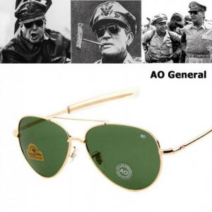 Jackjad army military macarthur aviation style ao general sunglasses american optical glass lens men sun glasses