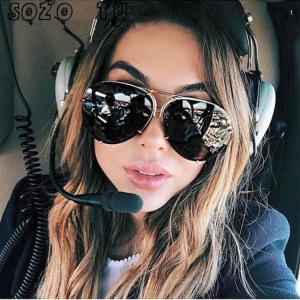 Car Motorbike SOZO TU oversize sunglass women rimless Big Sunglasses Women Ladies Large Aviation Sunglasses Female Oversized Glasses American