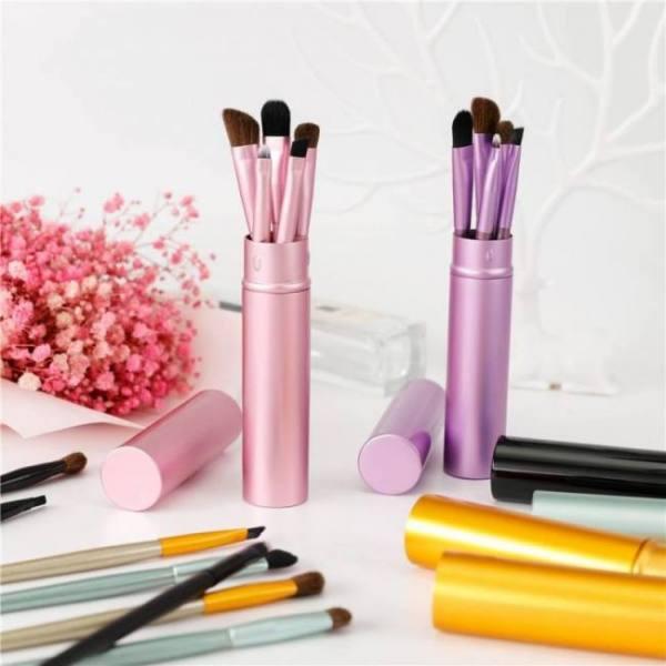 Bbl 5pcs travel portable mini eye makeup brushes set reals eyeshadow eyeliner eyebrow brush lip make up brushes kit professional
