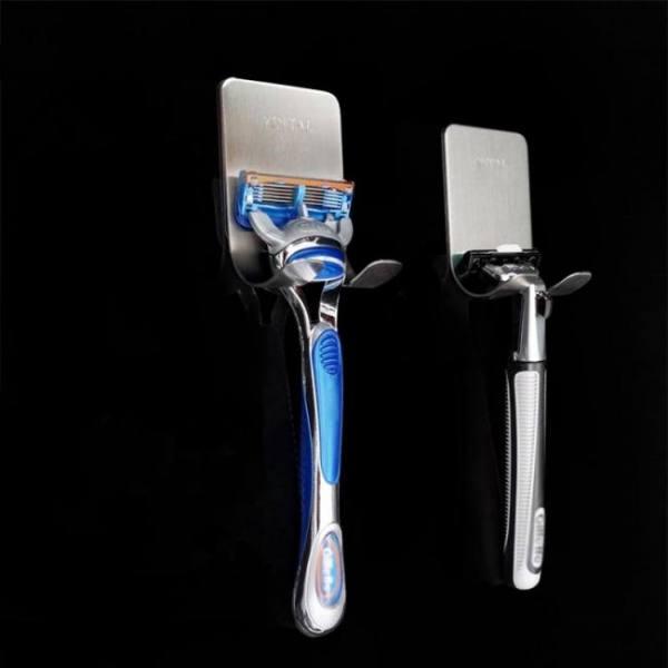 1 pc new men shaving shaver shelf 304 stainless steel razor holder shaving razor rack bathroom viscose razor hook