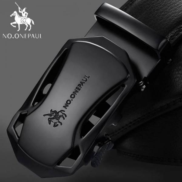 No.onepaul brand fashion automatic buckle black genuine leather belt men's belts cow leather belts for men 3.5cm width wqe789