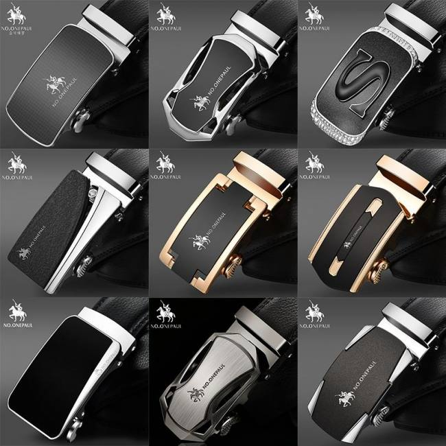 Men's Belts No.onepaul Fashion New Style Belts For Men Genuine Leather Cowskin Belt Automatic Buckle High Quality Business Male Mens Belts
