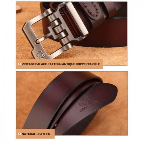 Bison denim genuine leather belt for men gift designer jeans belts men's high quality cowskin personality buckle vintage n71223