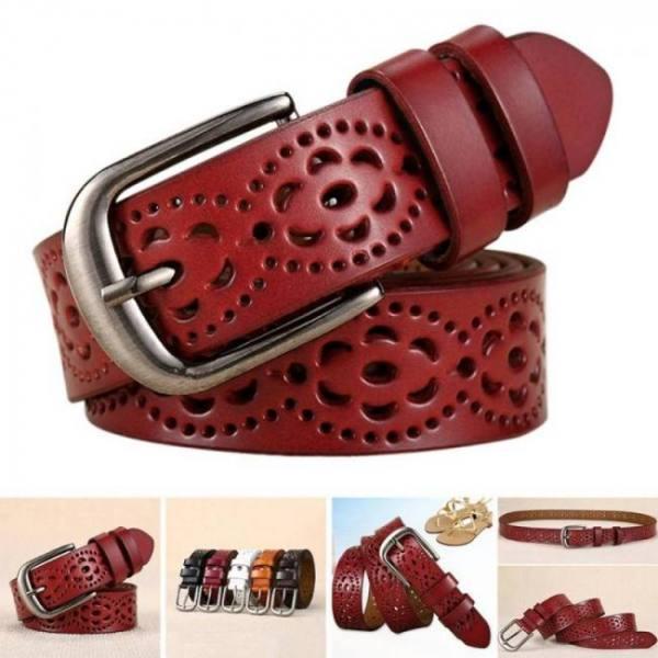 Belts Women Fashion Wide Genuine Leather Belt Floral Carved Cow Skin Belts for Jeans Top Quality Female Straps Vintage Ceinture Femme Belt