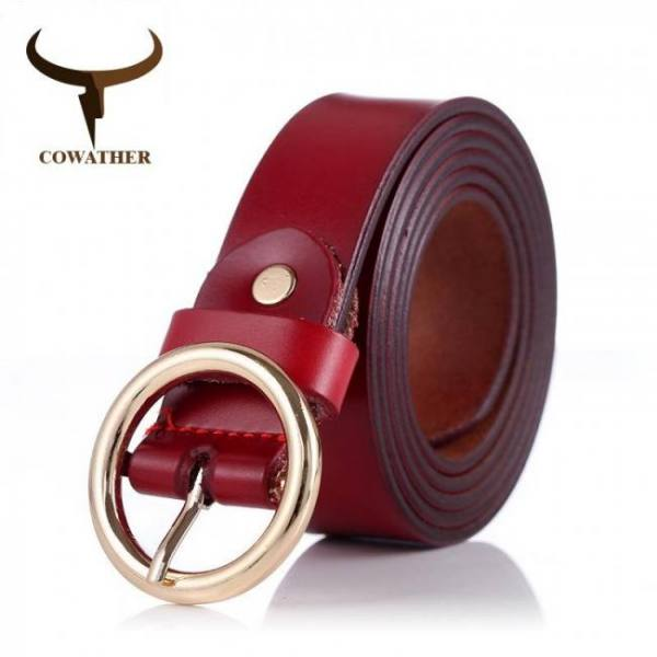 Belts COWATHER women belts cow genuine leather good quality alloy pin buckle fashion style design cinto feminino original brand Belt