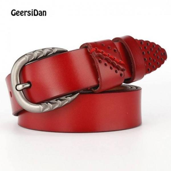 Belts GEERSIDAN New genuine leather pin buckle Women's belt Casual Fashion cowskin waistband belt for women high quality female girdle Belt