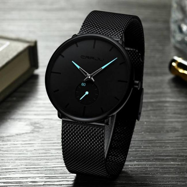 Top Rated Home Security Systems >> Crrju Fashion Mens Watches Top Brand Luxury Quartz Watch Men Casual Slim Mesh Steel Waterproof ...