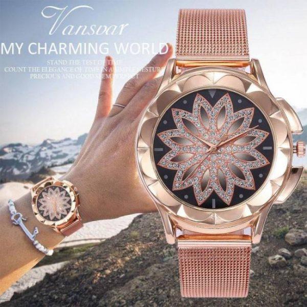 FREE SHIPPING Fashion Women Rose Gold Flower Rhinestone Wrist Watches Luxury Casual Female Quartz Watch Relogio Feminino Drop Shipping [tag]