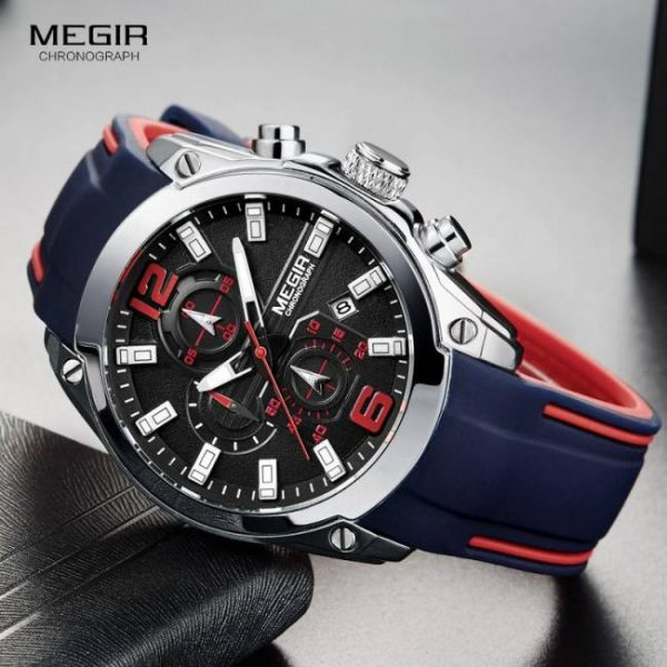 FREE SHIPPING Megir Men's Chronograph Analog Quartz Watch with Date, Luminous Hands, Waterproof Silicone Rubber Strap Wristswatch for Man [tag]