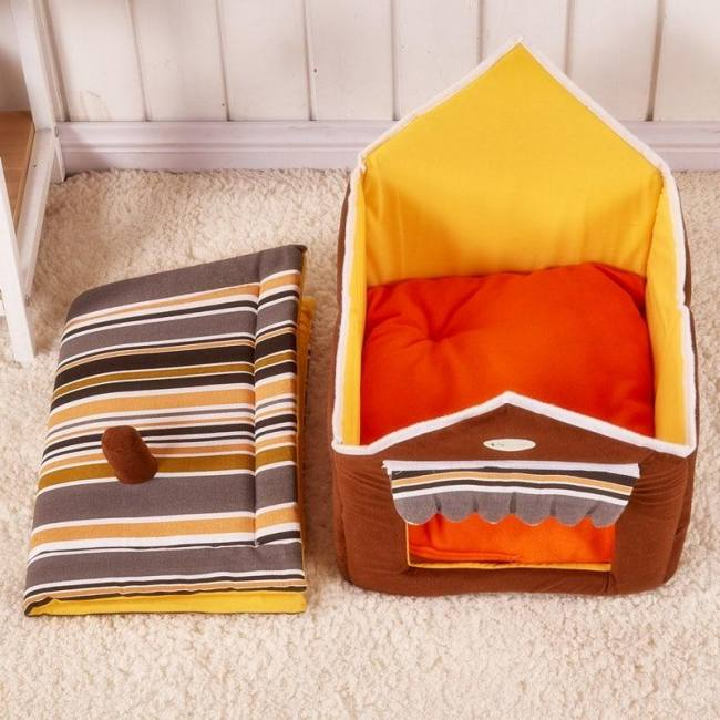 New fashion striped removable cover mat dog cat house bed for small medium pets