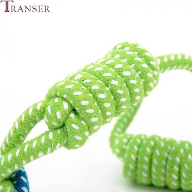 Dog cat  training playing green rope ball fun toy 71229