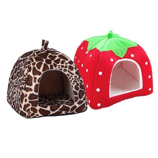 Pet House Super Cute Soft Sponge Strawberry Pet Cat Dog House Bed Dainty Cozy Warm Cushion Basket Tent Cat Cave
