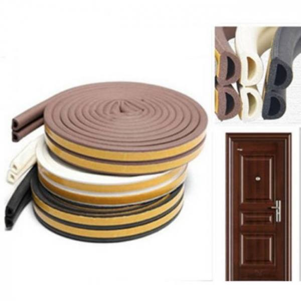 Doors windows foam rubber seal strip d type 5m (15ft) self adhesive for soundproofing
