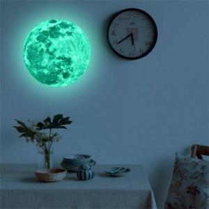 Bedroom 20cm Luminous Moon Earth Cartoon DIY 3D Wall Stickers for Kids Room Bedroom Glow In The Dark Wall Sticker Home Decor Living Room free
