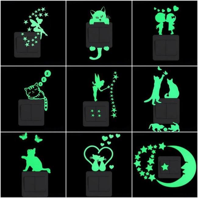 Cartoon Luminous Switch Sticker Glow In The Dark Wall