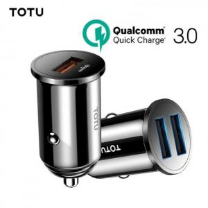 Accessories TOTU Quick Charge 3.0 USB Car Charger For iPhone xs Samsung Xiaomi Mini Dual USB Fast Car Charging Mobile Phone Charger Adapter free