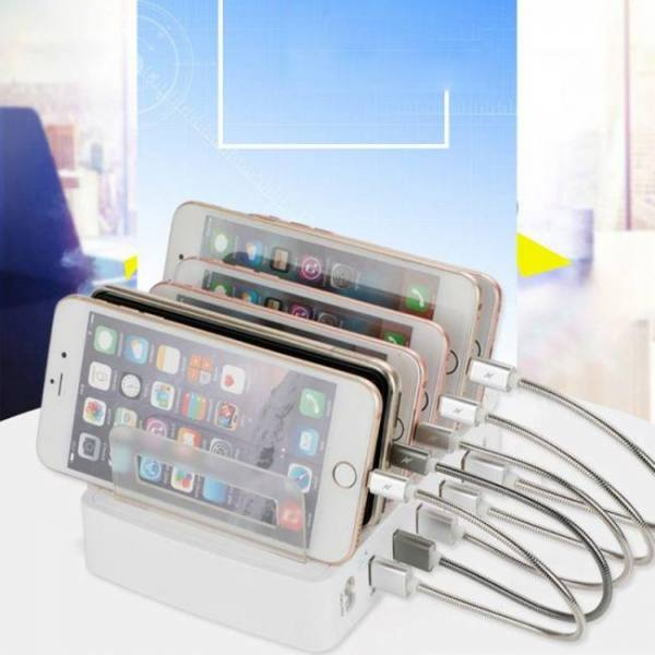 Charge Fast Charger 3.0 Cell Phone Smart Device 100-240V 40W 5 USB 1 Type C Port QC 3.0 Output Charging Station Dock Stand Universal Charging
