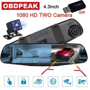 Accessories 4.3 inch 1080P DVR full HD video recorder camera reverse dual lens dash cam rearview mirror 1080p