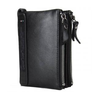 Genuine cow leather men fashionable zipper wallet