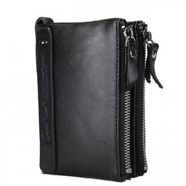 Genuine cow leather men fashionable zipper wallet