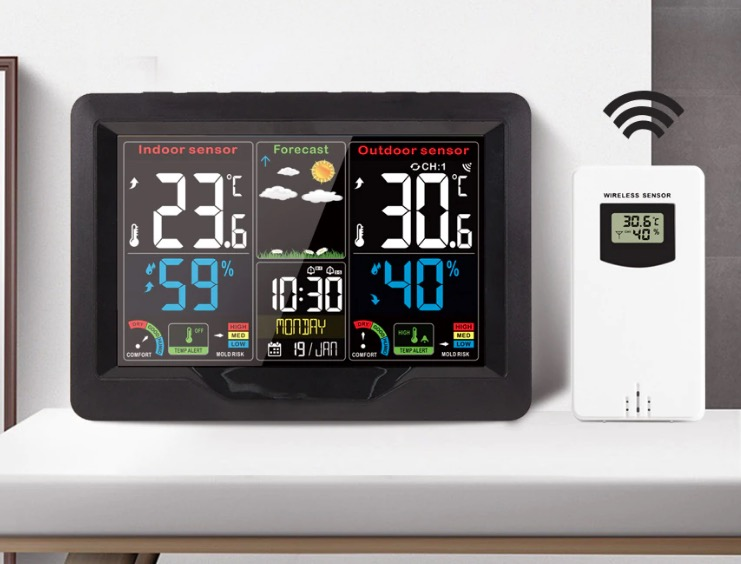9 in 1 Digital Thermometer Hygrometer Outdoor Alarm Clock Home Weather Station Wireless Sensor