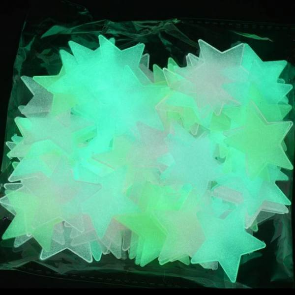 FREE SHIPPING 100pcs/bag 3cm Luminous Glow In The Dark Fluorescent Star Stickers for Children 100pcsbag