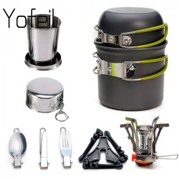Camp & Survive 1Set Pot With Folding Cup Gas Stove Tank Stand Fork Spoon Knife Utensils For Outdoor 1set