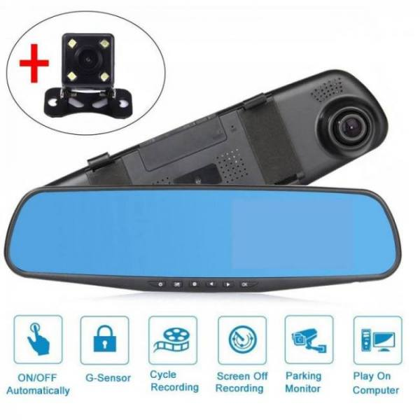 4.3 inch 1080p dvr full hd video recorder camera reverse dual lens dash cam rearview mirror