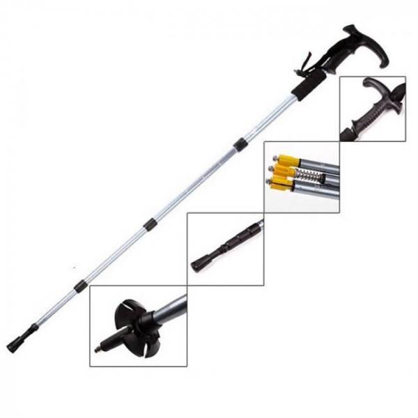 Walking stick folding trekking hiking canes ultralight 4 section anti shock adjustable stick