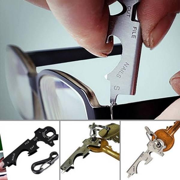 8 in 1 multi-functional key stainless steel outdoor tool utility bottle opener
